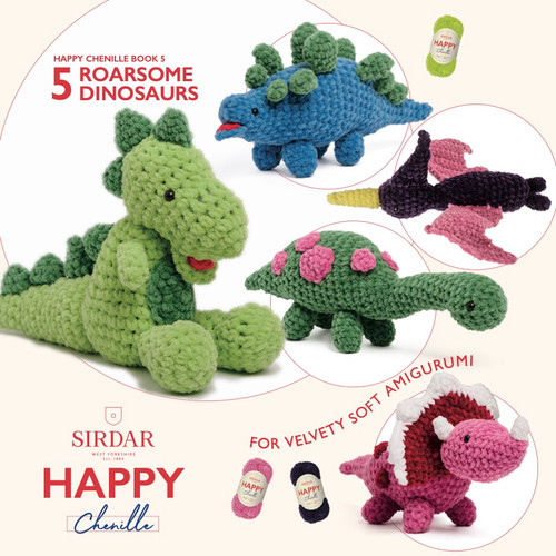 Sirdar Happy Chenille Book 5 - Roarsome Dinosaurs Amigurumi