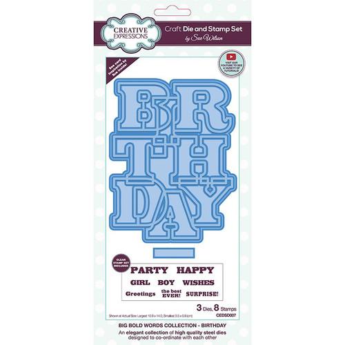 Sue Wilson Big Bold Words Birthday Craft Die & Stamp Set