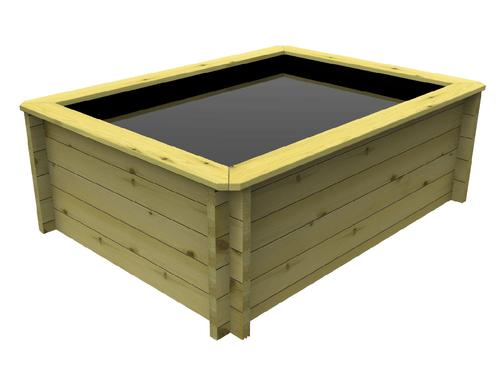 Rectangular Wooden Fish Pond (2m x 1.5m)