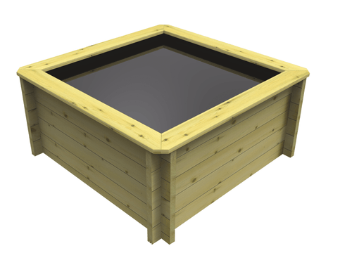 Square Wooden Fish Pond (1m x 1m)