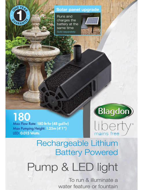 Liberty 180 Mains Free Pump and Led Light with Solar Panel 1052917