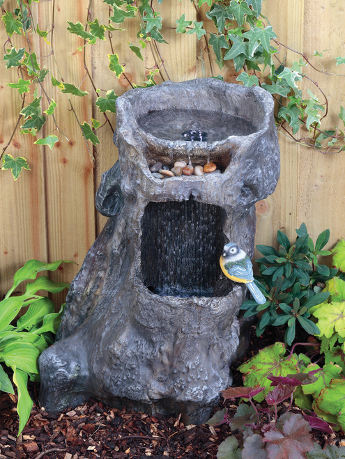 Liberty Waterfall Tree Stump Bird Bath Water Feature
