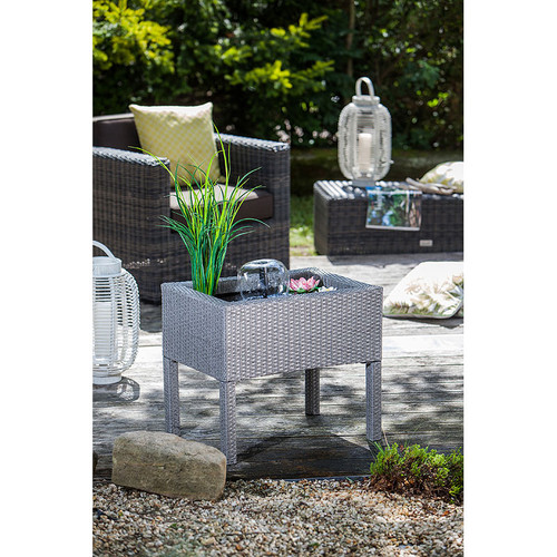 heissner raised patio rattan pond grey