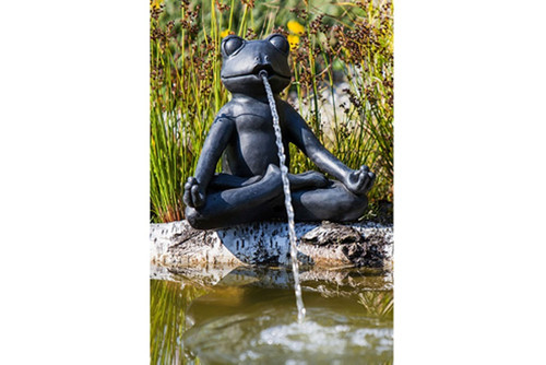 meditating frog water spitter