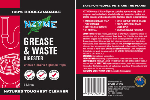 NZYME Grease & Waste Digestor 5 Litre Concentrate