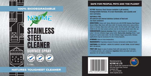 NZYME Stainless Steel Cleaner 1 Litre Ready To Use