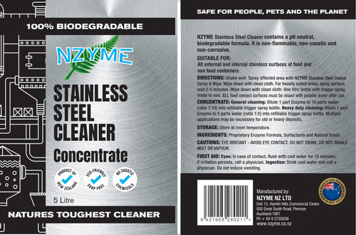 NZYME Stainless Steel Cleaner 5 Litre Concentrate