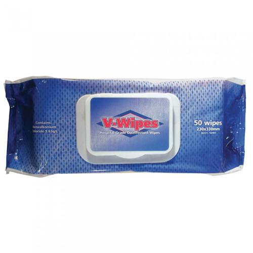 V Wipes hospital grade disinfectant wipes (Pack  of 50 pcs)
