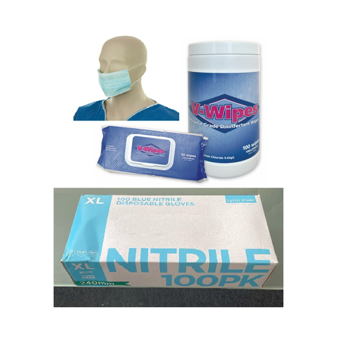 Pack of Mask (50 pk), Gloves (100 pk) and Wipes (50 pk)