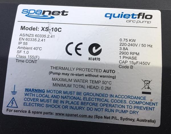 SpaNet®  XS-10C 1Hp(700w) Circulation Pump