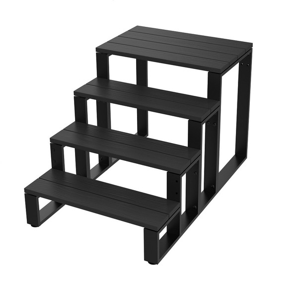 4-Tier Swim Spa Steps - Black Aluminium Spa Steps /Stairs (Hand Rails Sold Separately)