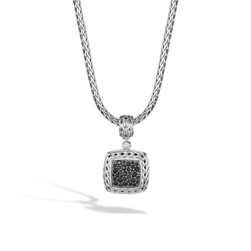 Classic Chain Lava Medium Square Pendant with Black Sapphire