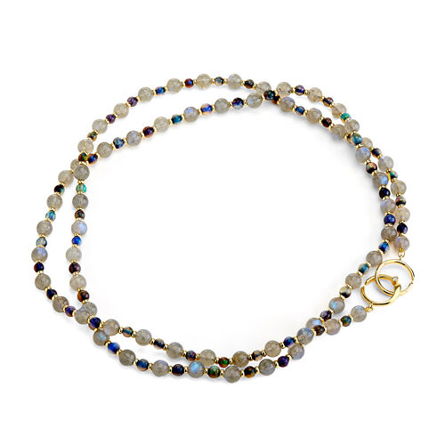 18KT Black Opal and Labradorite Bead Necklace