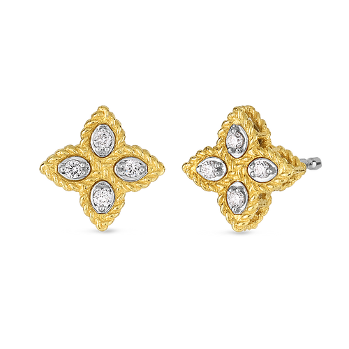 Diamond Princess Flower Small Stud Earrings