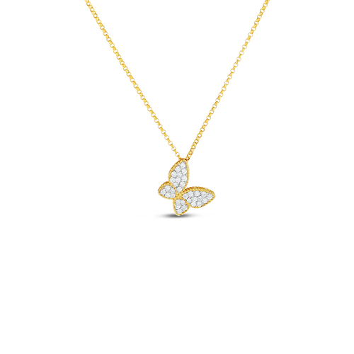 Diamond Princess Butterfly Pendant Necklace