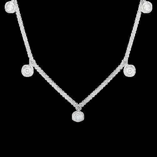 18KT 5 Diamond Drop Station Necklace