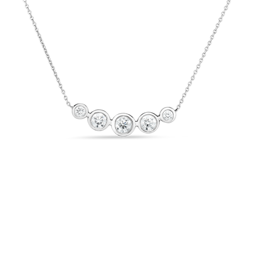 5 Diamond Bezel Curved Bar Necklace