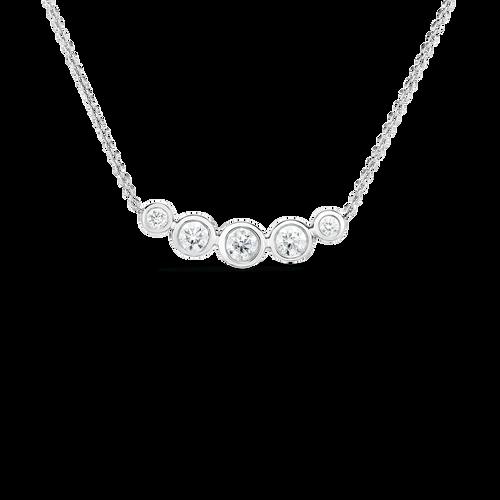 5 Diamond Bezel Curved Bar Necklace