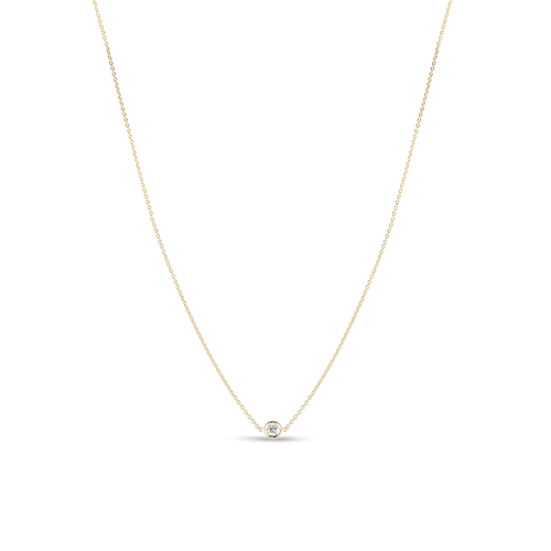 Yellow Gold 1 Diamond Station Necklace