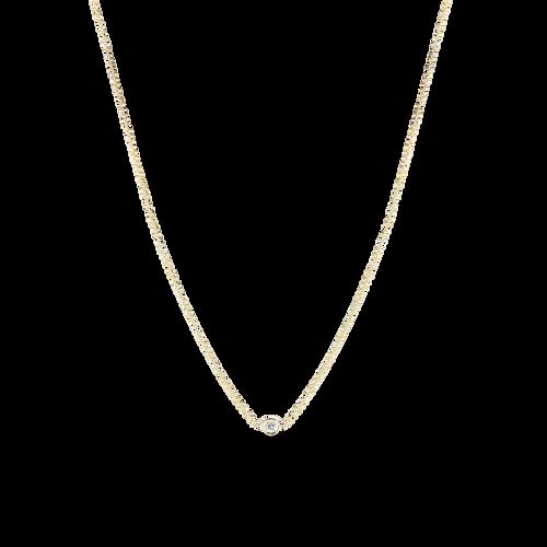 Yellow Gold 1 Diamond Station Necklace