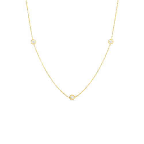 Yellow Gold 3 Station Diamond Necklace
