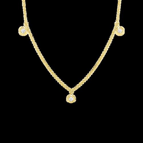 18KT 3 Station Dangling Diamond Necklace