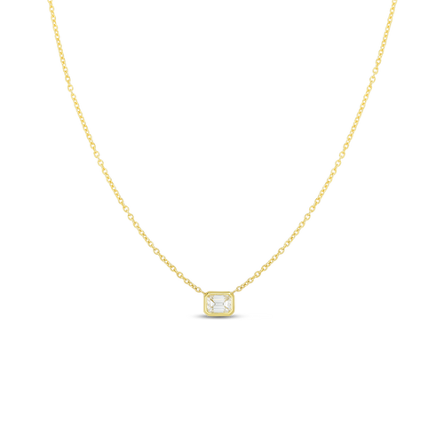 Yellow Gold Emerald Cut Diamond Necklace