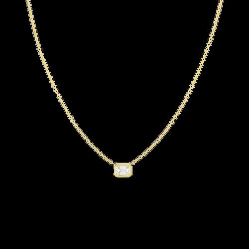 18KT Emerald Cut Diamond Necklace
