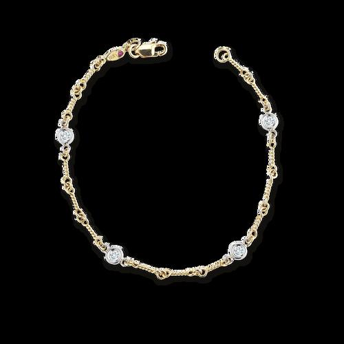 Dogbone Chain Bracelet with Diamond Stations