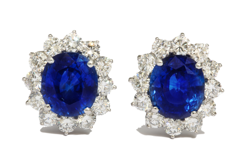 Platinum Sapphire and Diamond Earrings