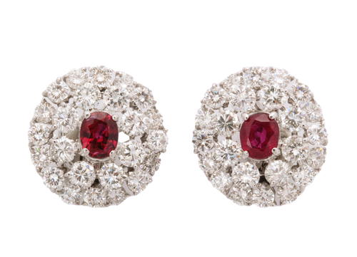 French Marks Diamond and Ruby Center Stone Earrings