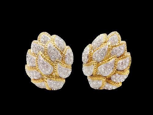 Modern Estate Pave Diamond Clip Earrings
