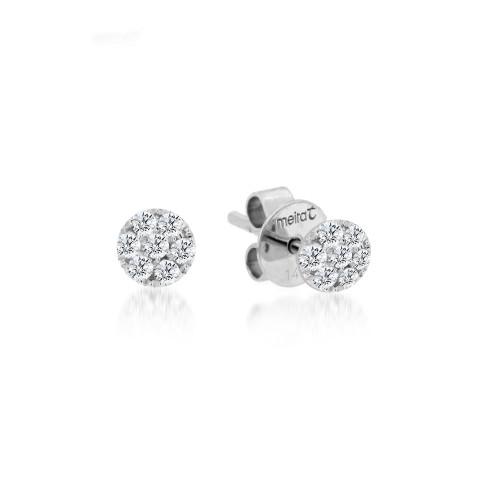 Diamond Pave Disc Stud Earrings