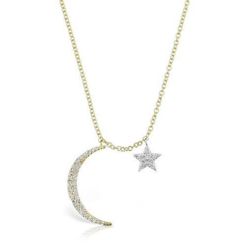 Crescent Moon and Star Diamond Necklace