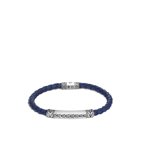 Classic Chain Blue Leather Station Bracelet