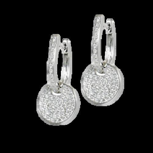 Diamond Pave Disc Huggie Hoop Earrings