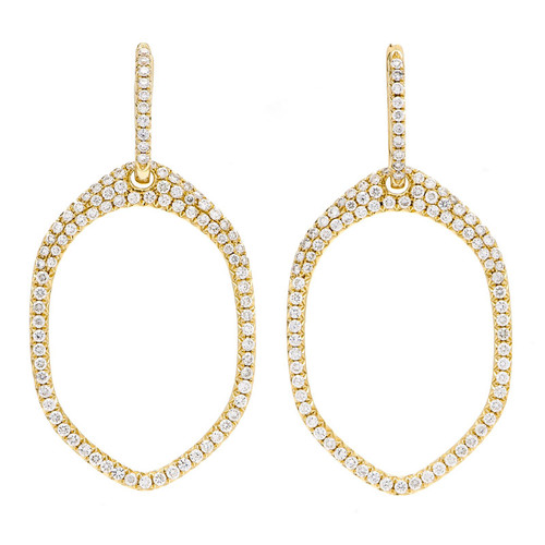 Yellow Gold Open Oval Diamond Dangle Earrings