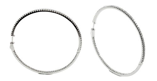 Round Diamond Large Hoops