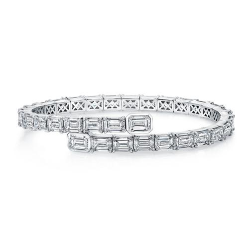 Emerald Cut Diamond Spiral Bracelet