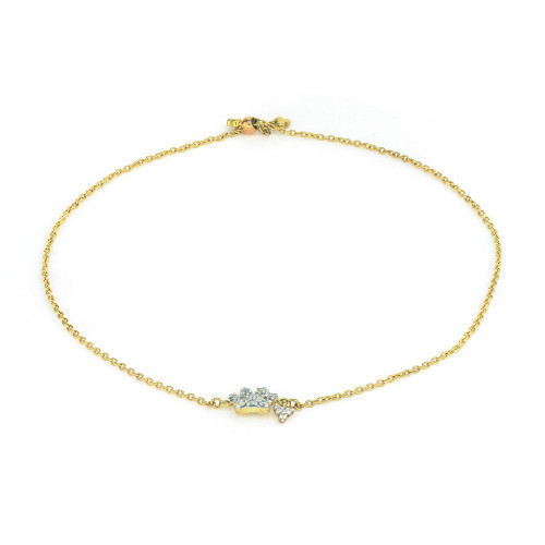 18KT Petite Diamond Pave Paw Chain Bracelet