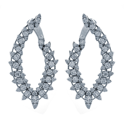 Open Oval Spiral Diamond Earrings