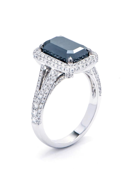 Emerald Cut Black Diamond Engagement Ring