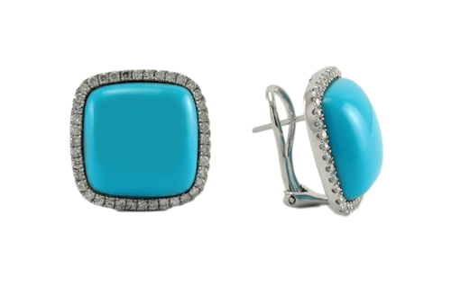 Square Turquoise and Diamond Earrings