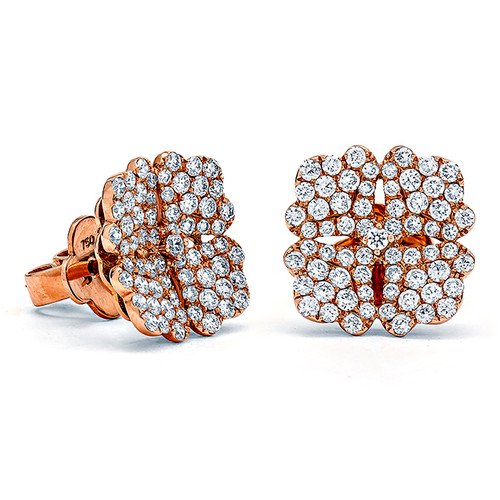 Diamond Pave Flower Earrings