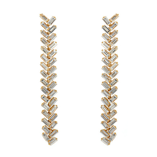18KT Herringbone Dangle Earrings