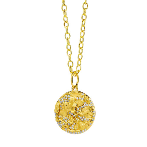 Mogul Gold Leaf Flower Pendant