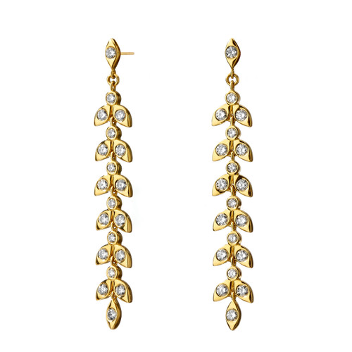 Mogul Leaf Diamond Dangle Earrings