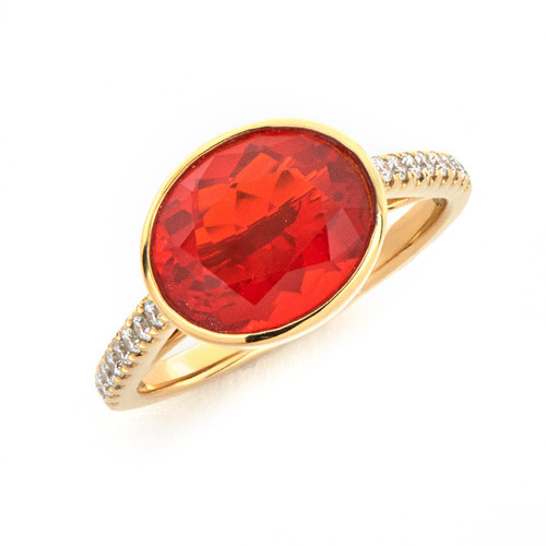 Oval Fire Opal Ring