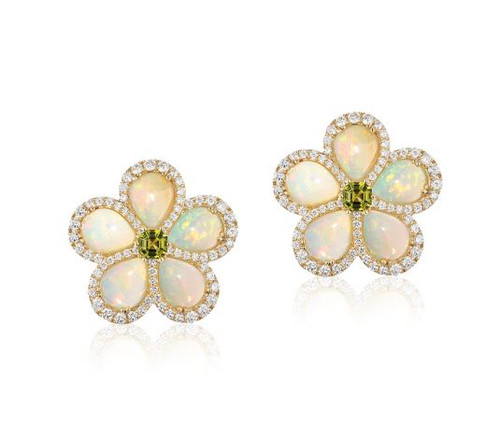 Opal and Peridot Flower Stud Earrings