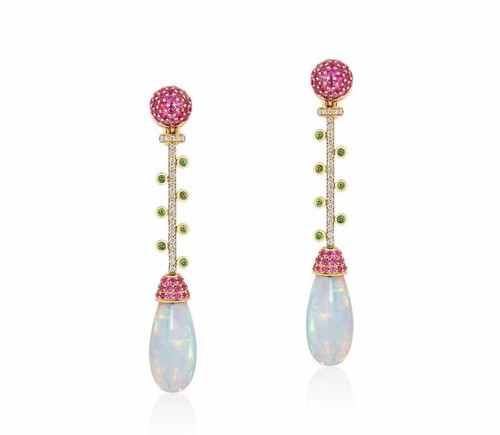 Opal Drop Long Earrings